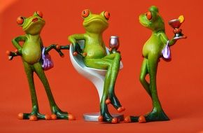 Party frogs Drink and chat Figurine