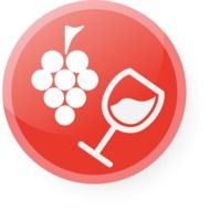 button with the image of grapes and a glass of wine
