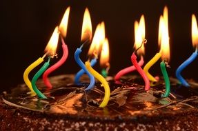 chocolate cake with candles for the birthday