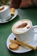 cappuccino coffee with cookies