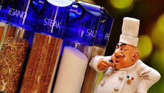 chef figurine and spices