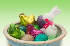 decorative easter eggs, bunnies and chickens