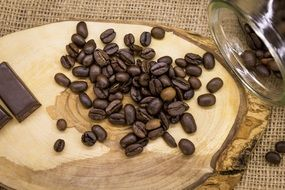 coffee beans and chocolate on a wooden plate