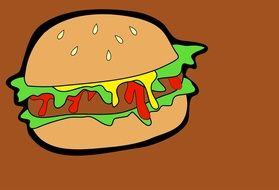 painted meat sandwich