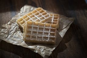 waffles with sugar powder