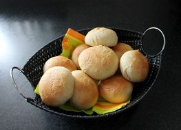 freshly baked buns in a basket