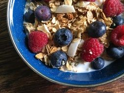 granola with milk and fruit