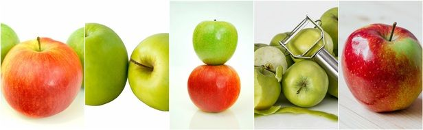 collage with apples