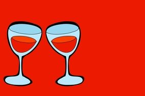 drawn two glasses of wine
