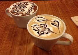 two cups with Cappuccino, Hot Beverage
