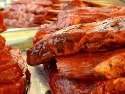grilled meat in marinade