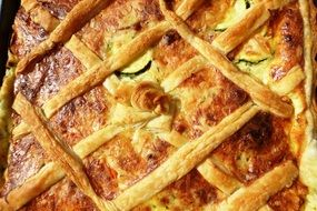 vegetable pie with pate and puff pastry