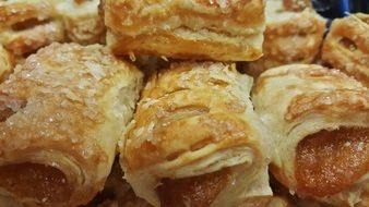 Pastries with Apple jam close up