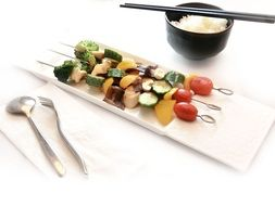 grilled vegetable skewers and rice