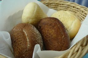 bread in a wicker basket