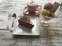 Piece of cake,different varities of the ice cream and the coffee