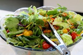 Salad in the bowl made of lettuce,tomatoes,carrots and other vegetables