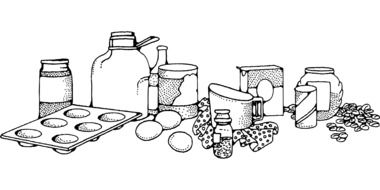 drawing of cooking ingredients