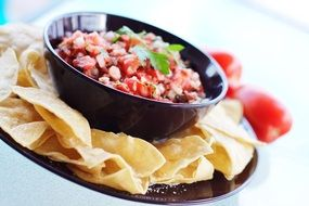 salsa sauce and mexican chips