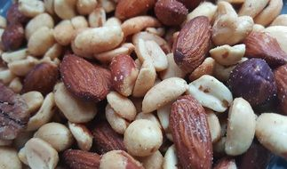 mixed organic Nuts snack closeup