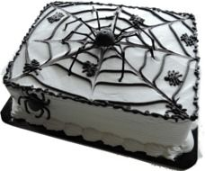 cake with spider webs and spiders for halloween