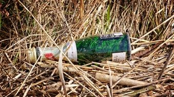 Bottle Garbage in grass
