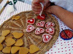 Baked heart cookies with the eatable decorations