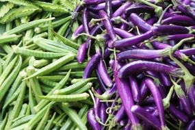 purple and green beans on a market in Burma