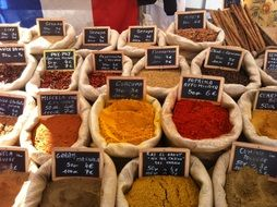 different types of aromatic spices in the bags