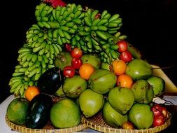 A lot of the beautiful colorful exotic fruits
