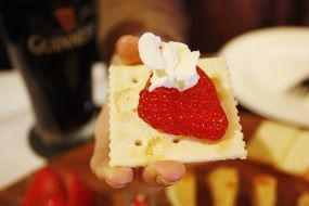 strawberry and whipped cream cracker