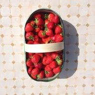 ripe Strawberries in Basket