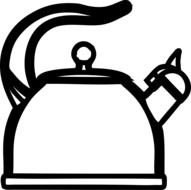 White and black teapot for the beverages clipart
