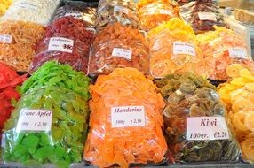 candied fruit on market stall, austria, Vienna