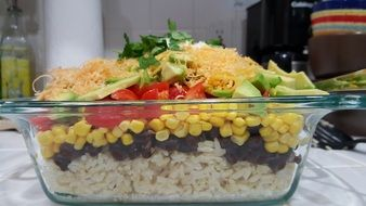 rice with beans, corn and vegetables