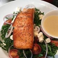 tasty Salmon Grilled with vegetables