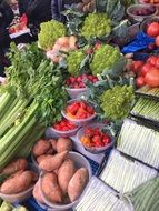 vegetables on the counter Ridley Road Market