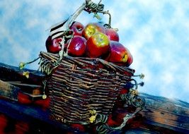 sweet red apples in a basket