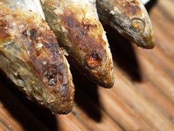 Grilled snakehead fishes on the table