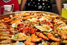 A lot of the seafood on a huge plate
