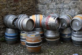 aluminum beer barrels on the street