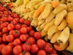 fresh pepper and tomatoes, Hungarian Vegetables, budapest