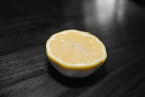 half a lemon on the table