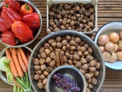 Nuts and fresh vegetables on Balcony