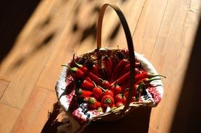 red chili peppers in a basket