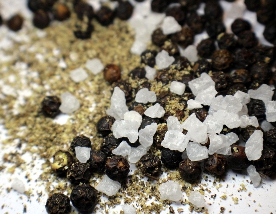 pepper and coarse salt as spices