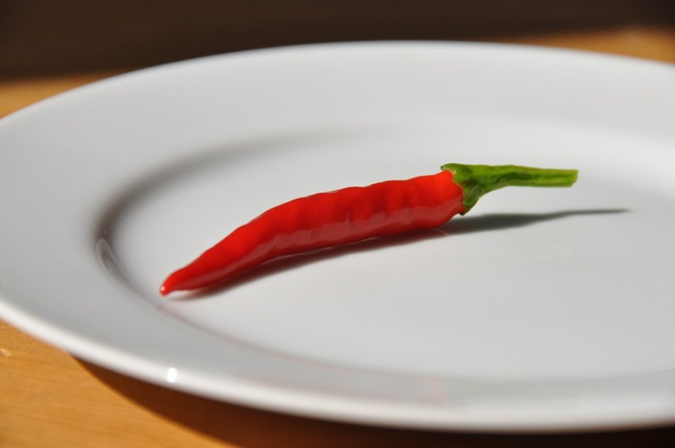 Chili pepper lies on a white plate