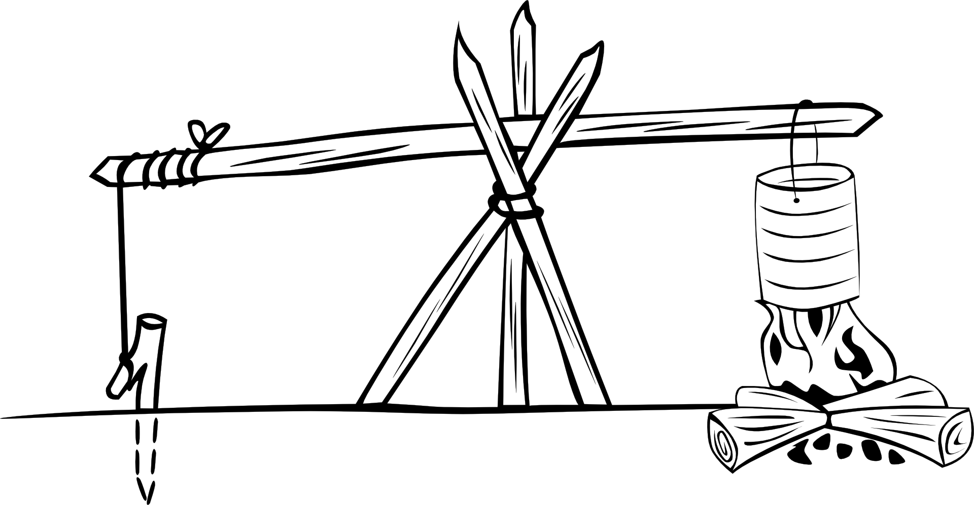 Campfire Tripod Black And White Vector Sketch Free Image