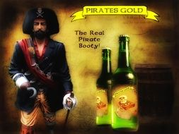 image of a pirate and two bottles of beer on a banner