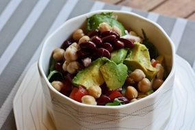 healthy nutritious salad with avocado and chick-pea